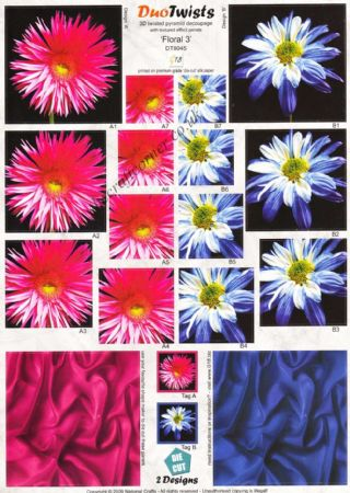 Aster Flowers In Pink & Blue Duo Twists Pyramid Die Cut 3d Decoupage Sheet
